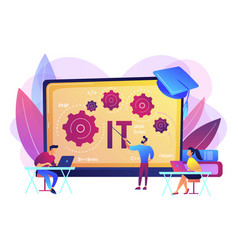 Information technology courses concept vector