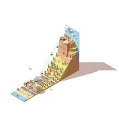 Isometric cableway from the beach to the vector