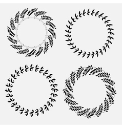 Laurel wreath circle tattoo set black ornaments vector