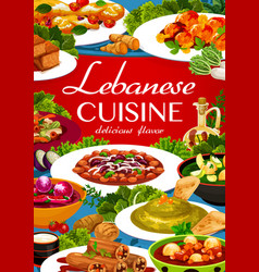 Lebanese cuisine menu cover with arab food vector