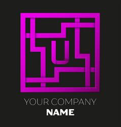 Letter u symbol in colorful square maze vector