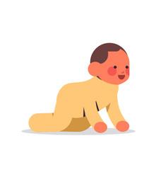 Little baby boy infant in yellow pajamas childhood vector