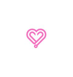 love heart line valentine logo vector image