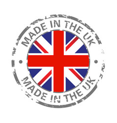 made in uk flag grunge icon vector image