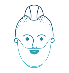 Male face with taper fade haircut and beard in vector