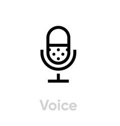 microphone icon editable stroke vector image