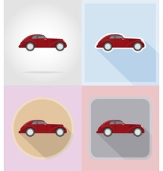 old retro transport flat icons 07 vector image