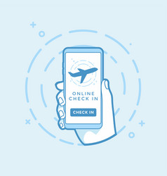 online check in button and airplane icon on screen vector image