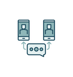 online meeting via smart phone colored icon vector image