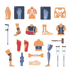 Orthopedics surgery medicine icons vector