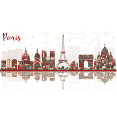 paris france city skyline with color landmarks vector image