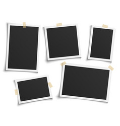 photo frames realistic empty white photos frame vector image