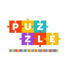 Puzzle font vector