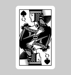 queen spades playing card in vintage engraving vector image