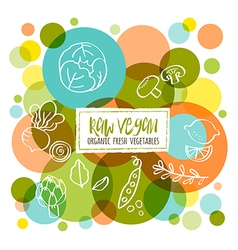 Raw Vegan Organic fresh vegetables doodles vector image