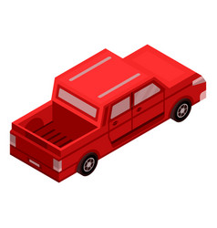 red pickup car icon isometric style vector image