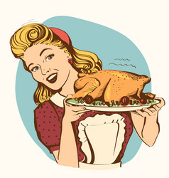 Retro smiling housewife cooks roasted turkey in vector
