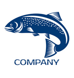 salmon fish and fishing logo vector image