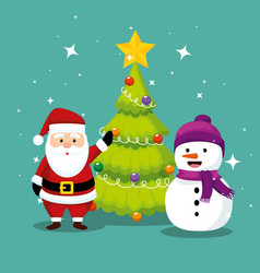 santa claus with pine tree and snowman vector image