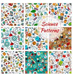 science seamless patterns for education design vector image