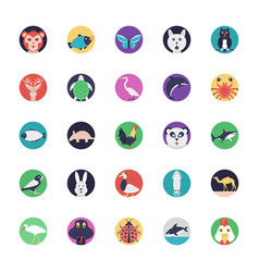 sea life and animals flat icons vector image
