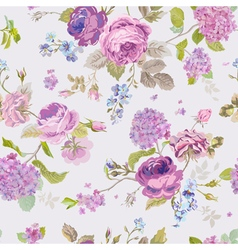 Seamless Floral Shabby Chic Pattern vector image