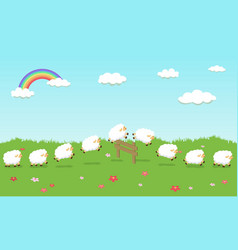 Seamless pattern queue counting sheep on field vector
