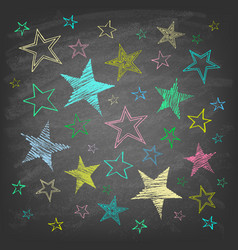 set hand drawn stars on chalkboard vector image