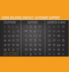 set of contact customer support mail icon vector image
