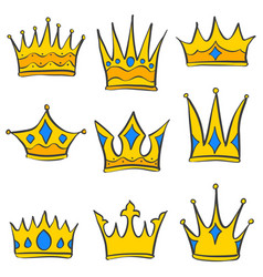 Set of gold crown collection vector