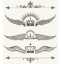 Set of royal winged crowns design elements vector