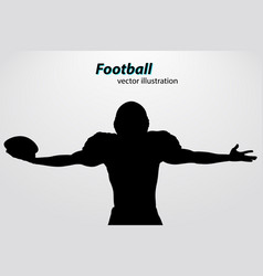 Silhouette a football player rugamerican vector