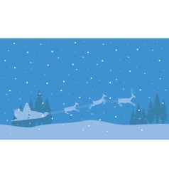 Silhouette of train deer Christmas landscape vector image