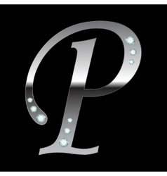 silver metallic letter P vector image