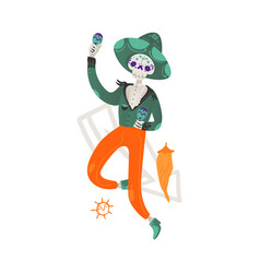 skeleton man with a skull in a sombrero hat and vector image