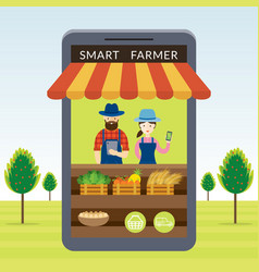 Smart farmer with online shop or store concept vector