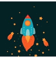 Space rocket flying with stars and comets vector image