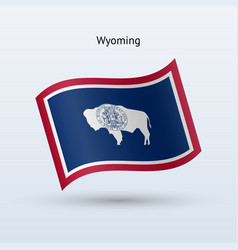 State of wyoming flag waving form vector