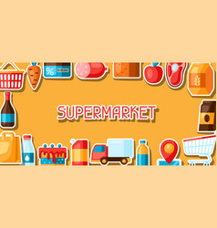 supermarket background with food stickers vector image