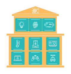 thin line icons smart home concept isolated on vector image