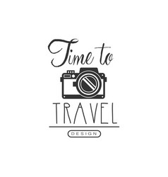 travel label with photo camera vector image