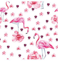tropical bird flamingo and roses seamless white vector image