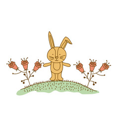 Watercolor hand drawn silhouette of bunny in hill vector