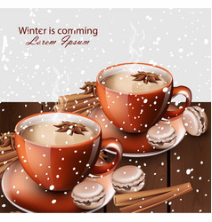 winter hot tea and gingerbread cookies vector image