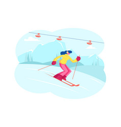 winter sports activity and spare time young woman vector image