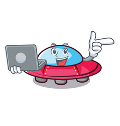 with laptop ufo character cartoon style vector image