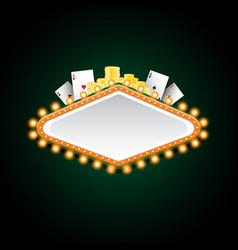 brightly green and orange casino glowing retro vector image vector image