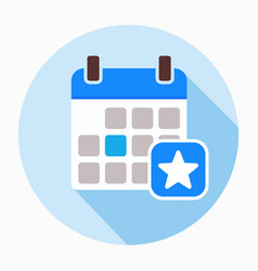 favorite day calendar with star icon vector image