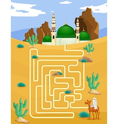 Maze game template with mosque background vector image vector image