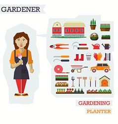 Set of elements for horticulture with gardener vector image